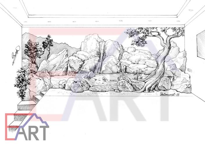 Эскиз горельефа и росписи в спа-комнате