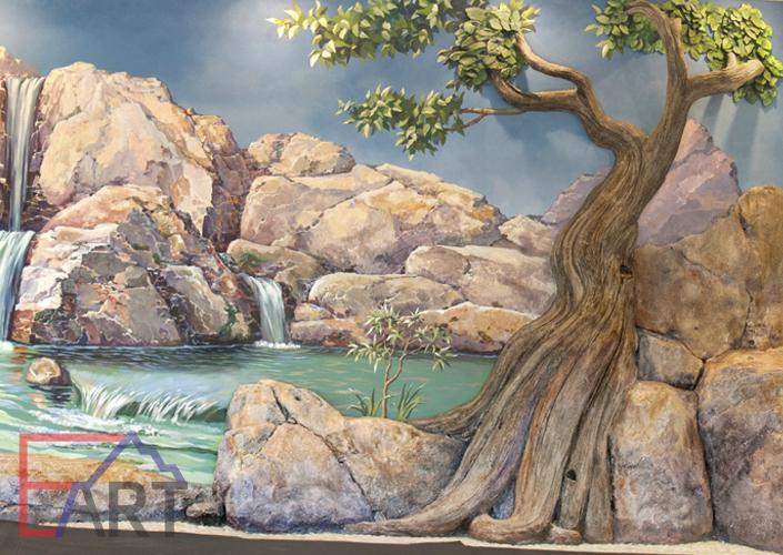 Барельеф камень и дерево, настенная роспись. Фрагмент