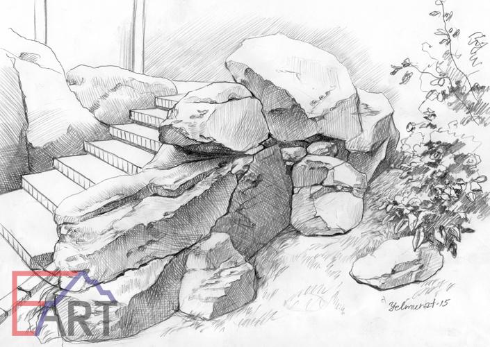 Эскиз. Оформление лестницы диким камнем