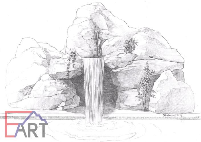 Эскиз декоративного водопада из бетона