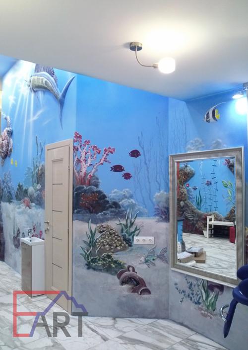 Художественная роспись на стене в спа. Москва