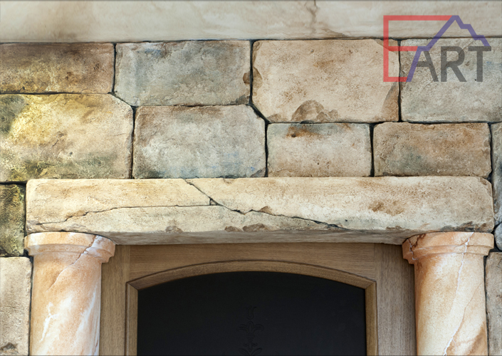 Кладка из бетона в интерьере