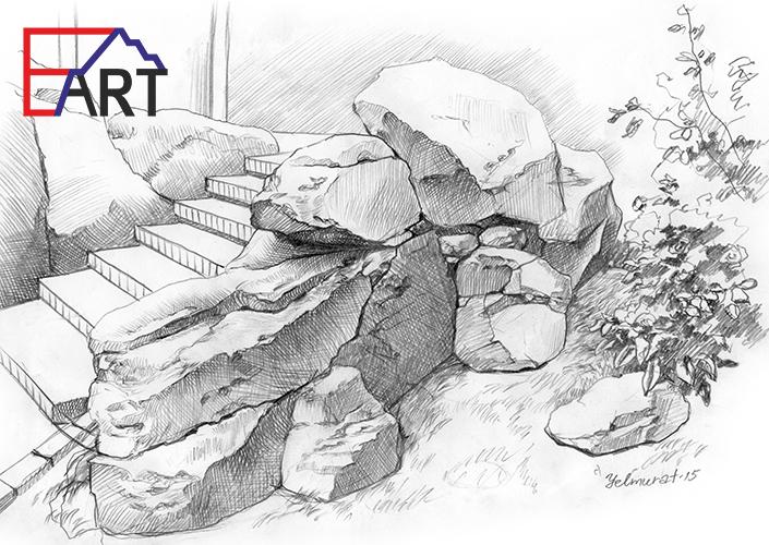 Камни из бетона, эскиз