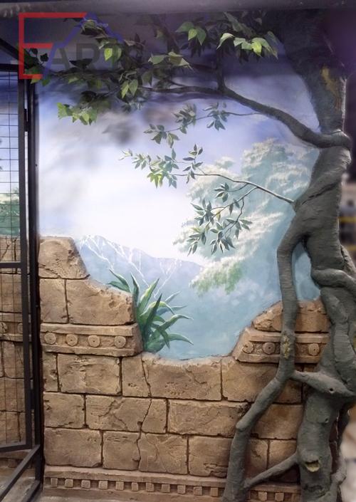 Роспись на стене в зоопарке