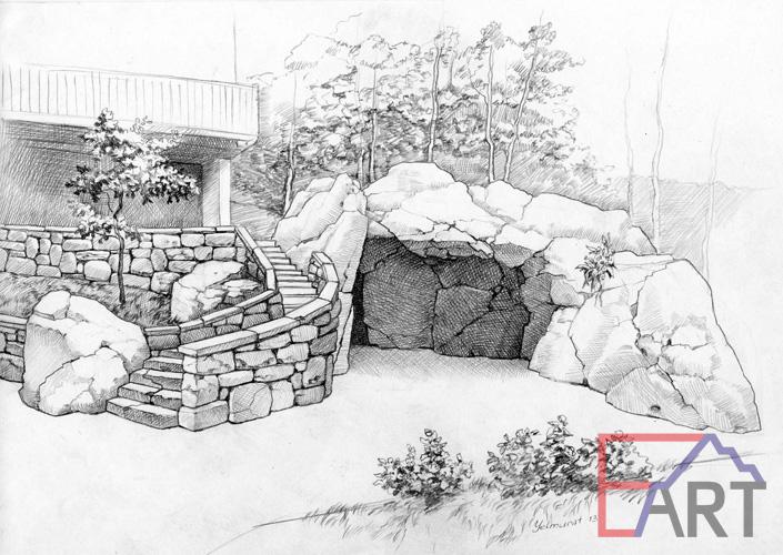Оформление входной зоны и гаража диким камнем. Эскиз