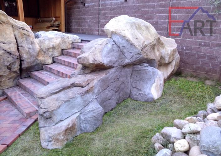 Оформление лестницы диким камнем (МО)