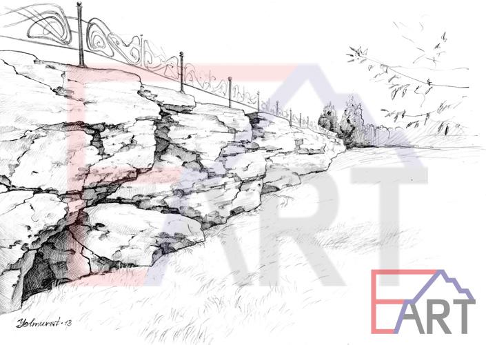 Оформление подпорной стены диким камнем