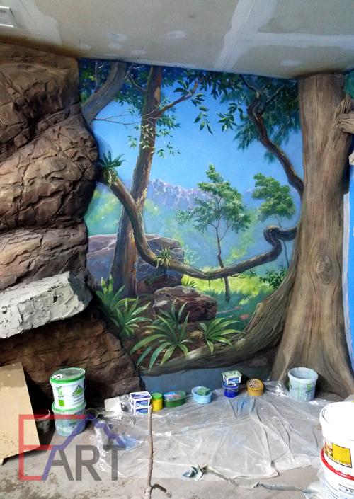 Роспись на стене, пейзаж.