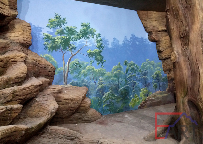 Настенная роспись пейзаж в вольере зоопарк