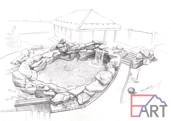 Эскиз водоема и водопада из бетона