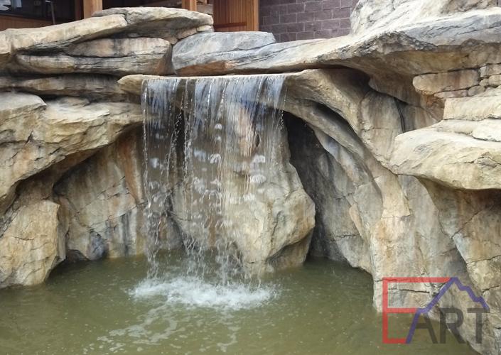 Водоем и водопад из архитектурного бетона