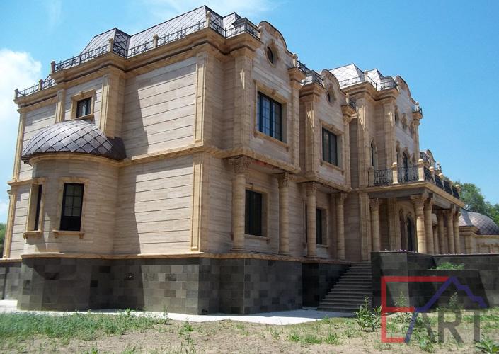 Имитация мрамора на фасаде