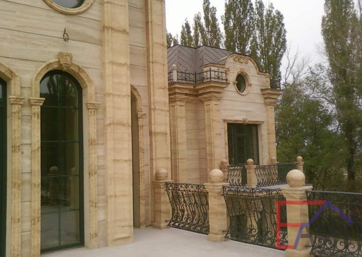 Роспись фасада под травертин