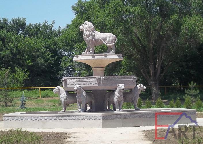 Роспись фонтана под травертин